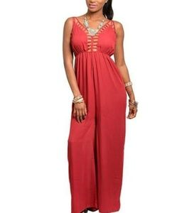 New Gorgeous wine jumpsuit with caged detail Large